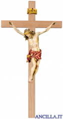 Crocifisso Raffaello dipinto a olio (rosso) - croce diritta liscia chiara
