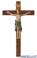 Crocifisso Romanico con corona su croce diritta (blu)