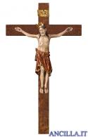Crocifisso Romanico con corona su croce diritta (rosso)