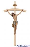 Crocifisso Siena anticato oro zecchino - croce curva chiara
