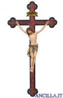 Crocifisso Siena dipinto a olio - croce anticata barocca