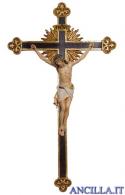 Crocifisso Siena dipinto a olio - croce barocca con raggi
