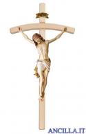 Crocifisso Siena dipinto a olio - croce curva chiara