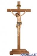 Crocifisso Siena dipinto a olio - croce diritta con base