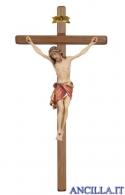 Crocifisso Siena dipinto a olio - croce diritta scura