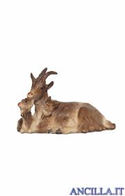 Capra sdraiata con due caprette Kostner serie 12 cm