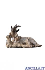 Capra sdraiata con due caprette Mahlknecht serie 12 cm