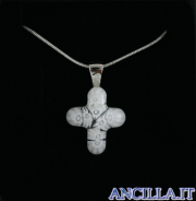 Collana con croce piccola stampo murrina bianco