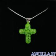 Collana con croce piccola stampo murrina verde