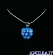 Collana con cuore piccolo stampo murrina azzurro