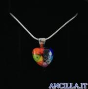 Collana con cuore piccolo stampo murrina multicolore