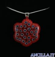 Collana con fiore stampo murrina rosso