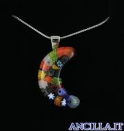 Collana con luna stampo murrina multicolore