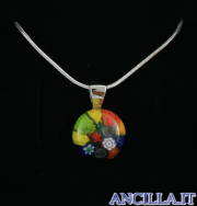 Collana con tondo stampo murrina multicolore