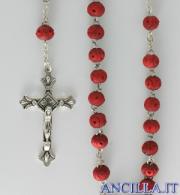 Corona del Rosario legno rosso lavorato al profumo di rosa