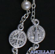 Corona del Rosario perla cerata con pater, croce e crocera San Benedetto