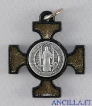 Croce celtica legno nero e smalto oro