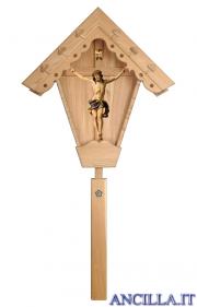 Croce da giardino in legno di larice con Crocifisso Nazareno dipinto a olio (blu)