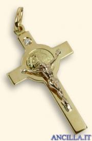 Croce-medaglia di San Benedetto oro 18kt e brillante