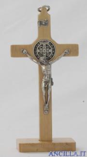 Croce-medaglia San Benedetto in legno naturale con base