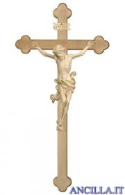 Crocifisso Leonardo cerato filo oro - croce brunita barocca