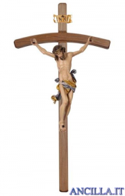 Crocifisso Leonardo dipinto a olio - croce curva scura