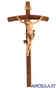 Crocifisso Leonardo dipinto a olio - croce curva