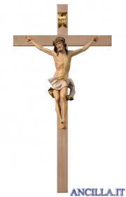 Crocifisso Nazareno dipinto a olio (bianco) - croce liscia
