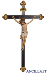 Crocifisso Siena con aureola dipinto a olio - croce barocca