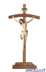 Crocifisso Siena dipinto a olio - croce curva con base