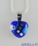 Collana con cuore piccolo stampo murrina blu variegato