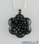 Collana con fiore stampo murrina nero