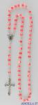 Corona del Rosario imitazione madreperla setata rosso