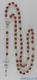 Corona del Rosario legno su catena grani ovali 6x8 naturale scuro
