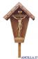 Croce da giardino in legno di larice con Cristo dipinto a olio
