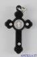 Croce gotica legno nero e smalto argento