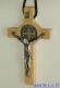 Croce-medaglia di San Benedetto in legno naturale