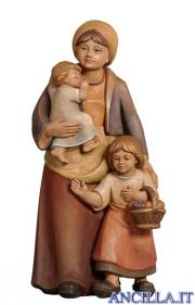 Donna con due bambini Pema serie 9 cm