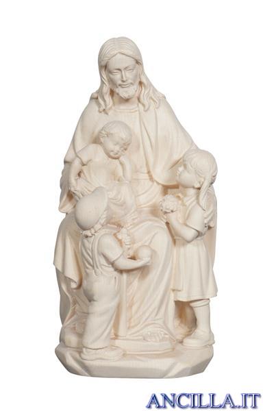 Gesù con i bambini legno naturale non dipinto