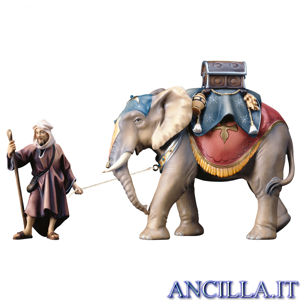 Gruppo dell'elefante con sella e bagagli Ulrich serie 12 cm