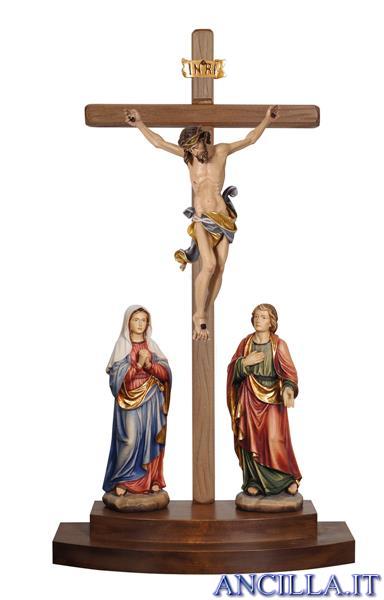 Gruppo di crocifissione Leonardo dipinto a olio con croce da appoggio