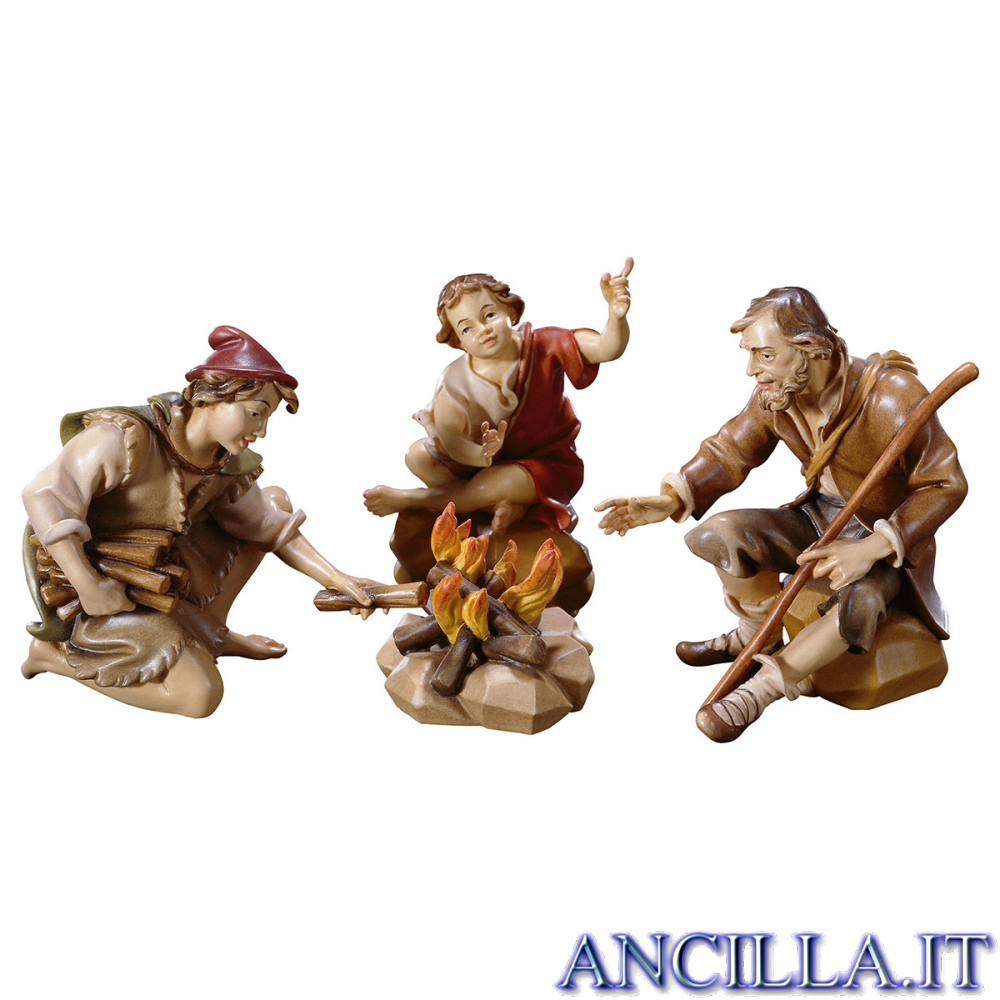 Gruppo di pastori al falò Ulrich serie 10 cm
