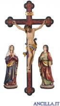 Gruppo di crocifissione Leonardo dipinto a olio con croce barocca