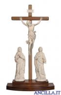 Gruppo di crocifissione Leonardo legno naturale con croce da appoggio