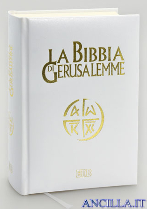 La Bibbia di Gerusalemme elegante similpelle bianca