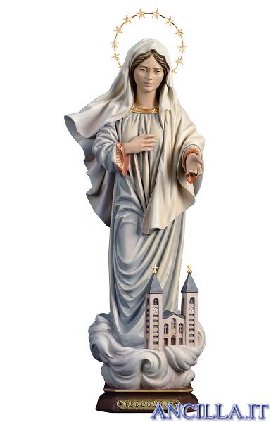 Madonna di Medjugorje con chiesa e con corona di stelle