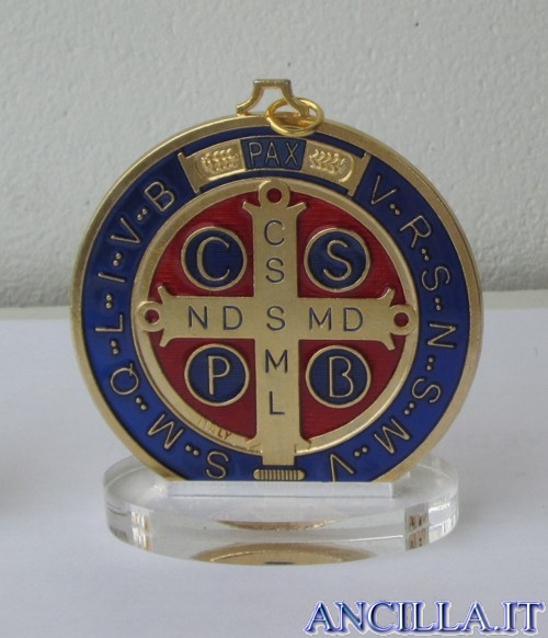 Medaglia di San Benedetto smaltata dorata