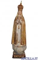 Madonna di Fatima Capelinha con corona rifinitura antica con oro zecchino e argento