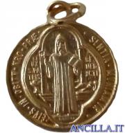 Medaglia di San Benedetto alluminio dorato