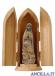 Madonna di Fatima con i tre pastorelli mod.1 legno naturale